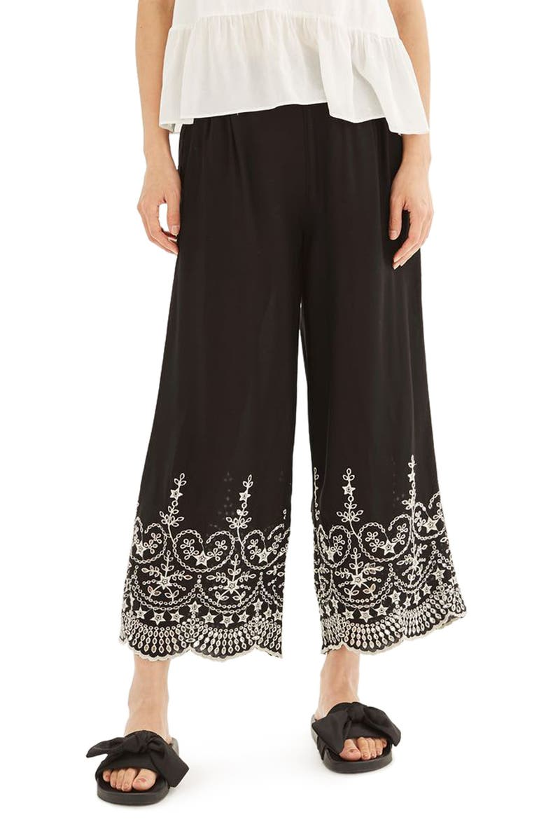 TOPSHOP Embroidered Leg Trousers, Main, color, 001