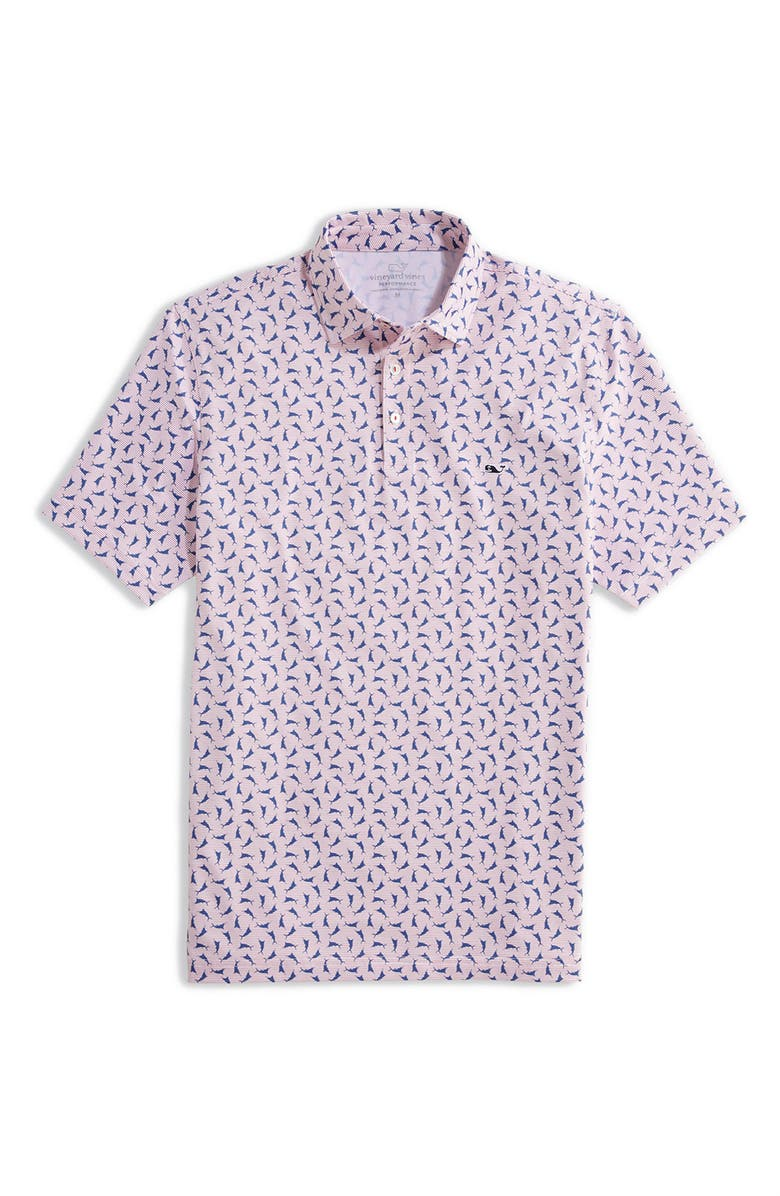VINEYARD VINES Sankaty Classic Fit Cool Drinks Print Short Sleeve Performance Polo, Main, color, TOSSED RESORT RED