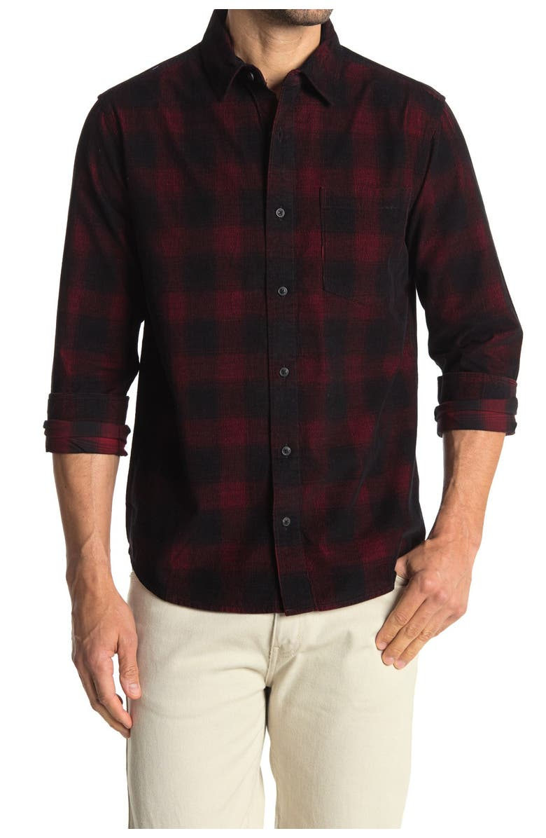 7 DIAMONDS King of the Road Plaid Corduroy Shirt, Main, color, RED