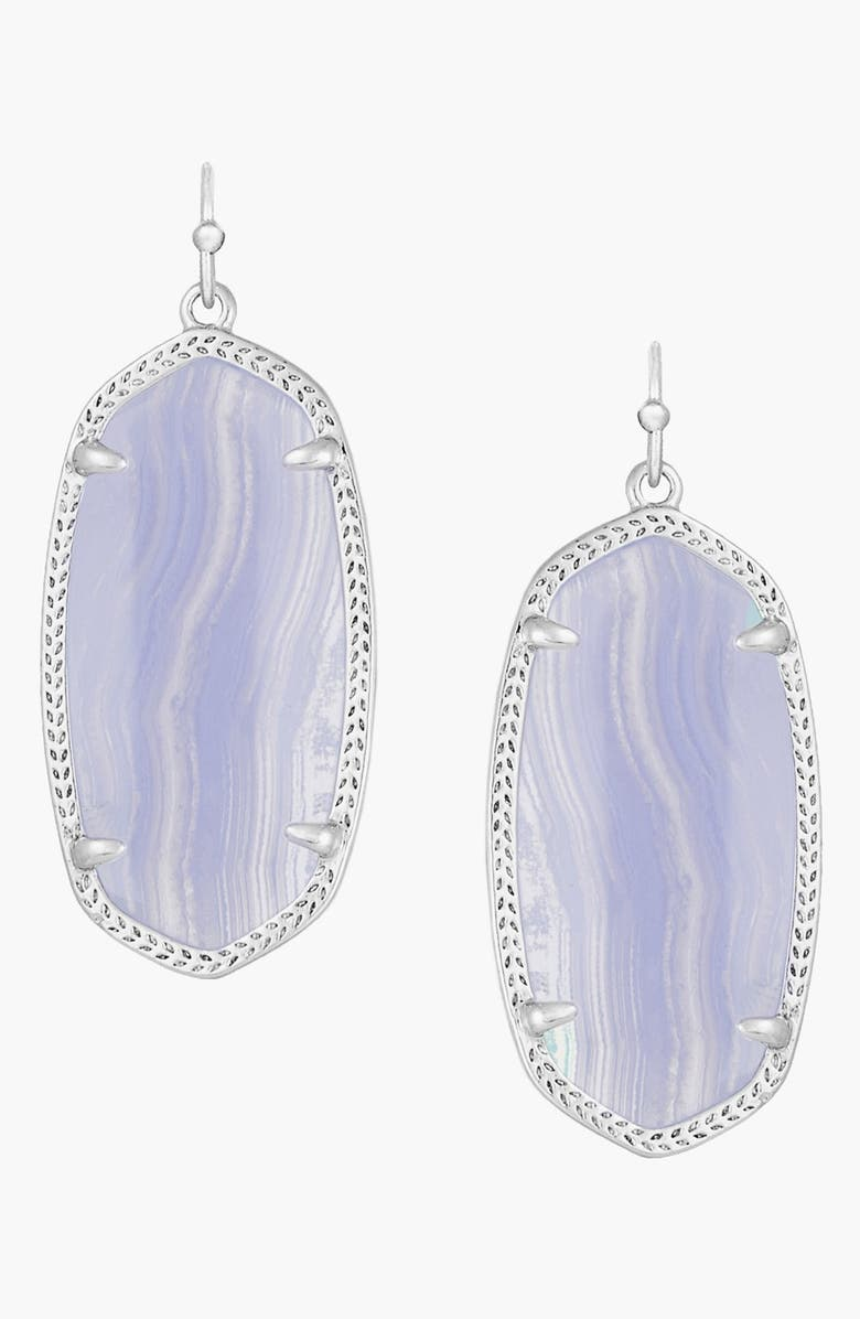 KENDRA SCOTT Elle Filigree Drop Earrings, Main, color, RHODIUM BLUE LACE AGATE