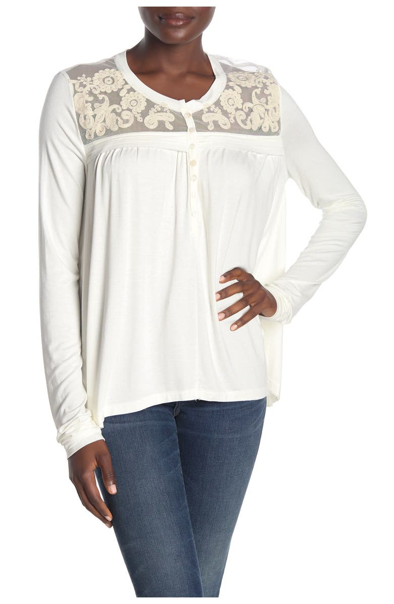 FORGOTTEN GRACE Embroidered Mesh Trim Front Button Blouse, Main, color, IVORY