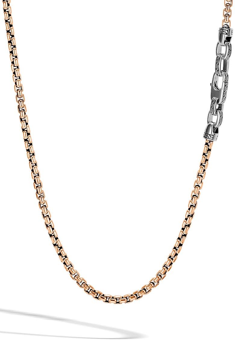 JOHN HARDY Box Chain Men's Bronze & Sterling Silver Necklace, Main, color, 040