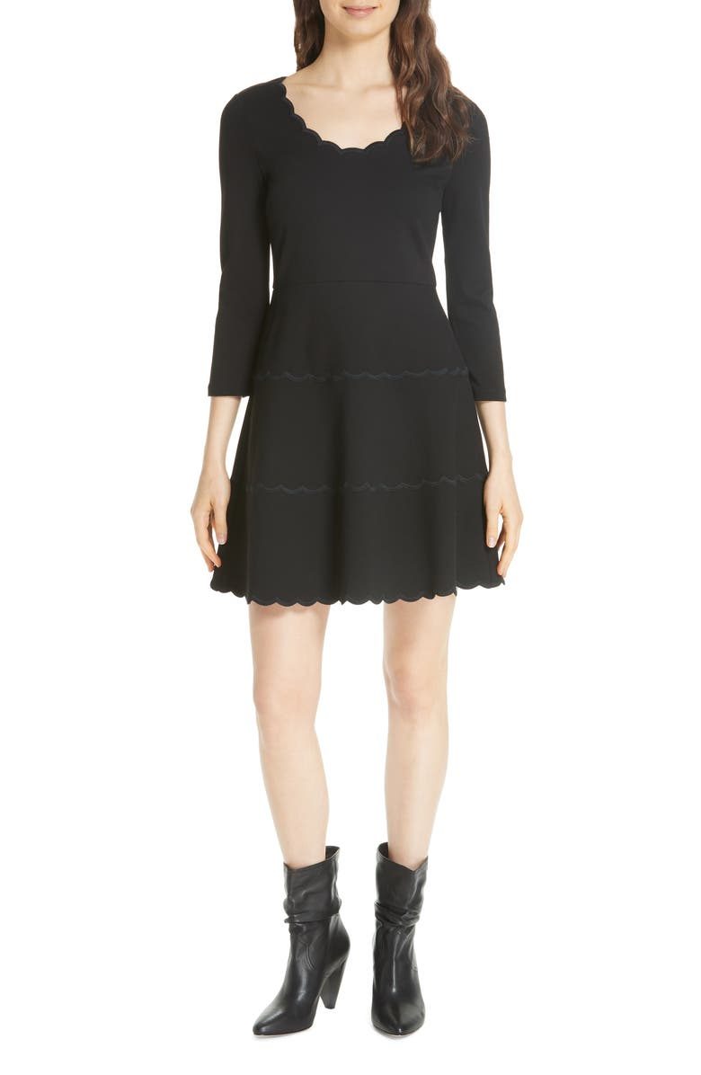 KATE SPADE NEW YORK scallop ponte fit & flare dress, Main, color, 001