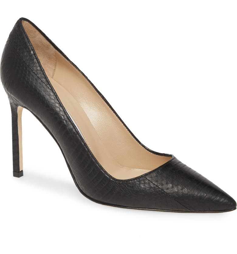 MANOLO BLAHNIK BB Genuine Python Pointed Toe Pump, Main, color, 007