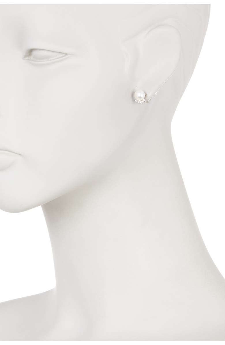 SPLENDID PEARLS Fancy CZ 7.5-8mm Natural White Cultured Freshwater Pearl Stud Earrings, Main, color, natural white