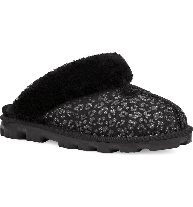 UGG<SUP>®</SUP> Genuine Shearling Slipper, Main, color, RED/ BLACK LEOPARD SUEDE