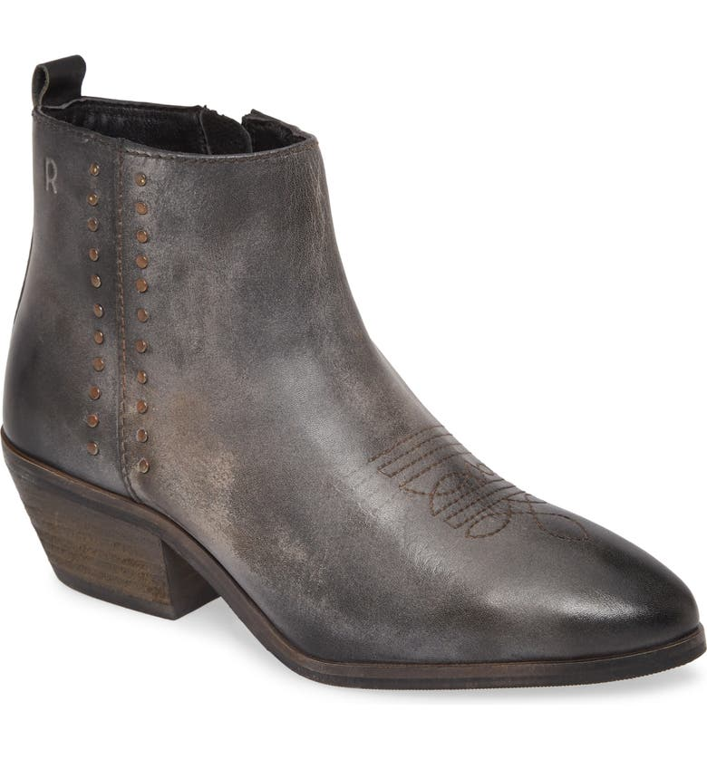 ROAN Aggie Leather Bootie, Main, color, BLACK/ RUST LEATHER