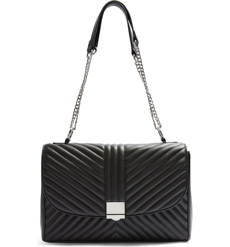 TOPSHOP Sofia Quilted Faux Leather Shoulder Bag, Main, color, 001