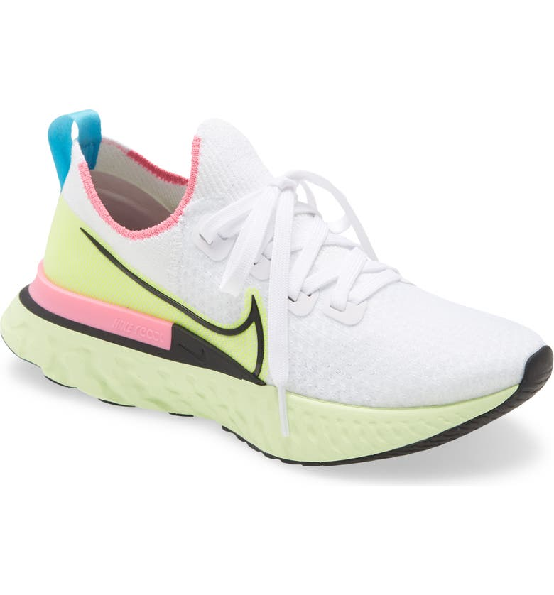NIKE React Infinity Run Flyknit Running Shoe, Main, color, WHITE/ BLACK-VOLT-PINK GLOW