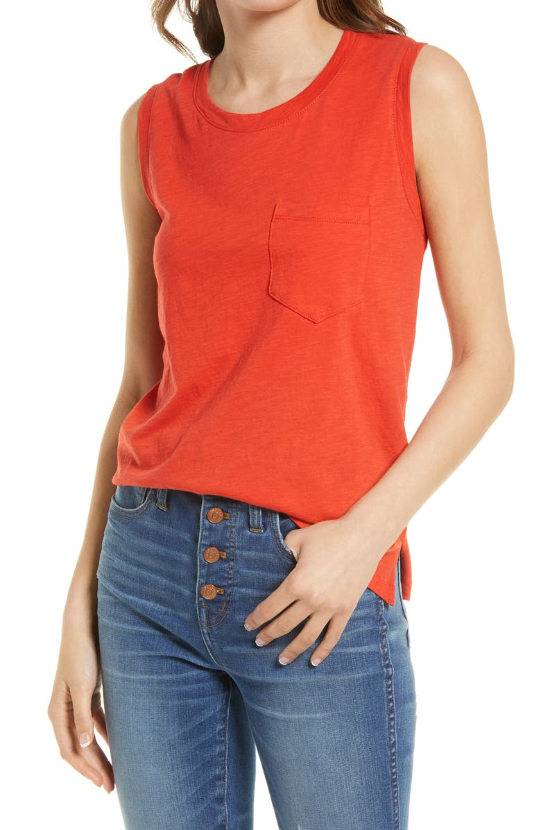 MADEWELL Whisper Pocket Cotton Muscle Tank, Main, color, HIMALAYAN ORANGE