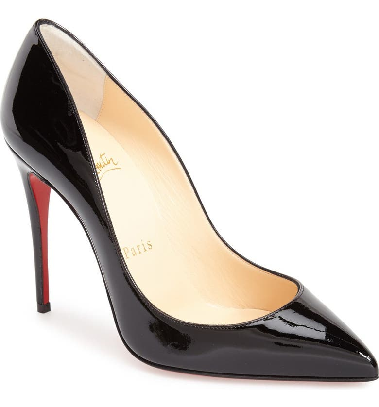 CHRISTIAN LOUBOUTIN Pigalle Follies Pointed Toe Pump, Main, color, BLACK PATENT