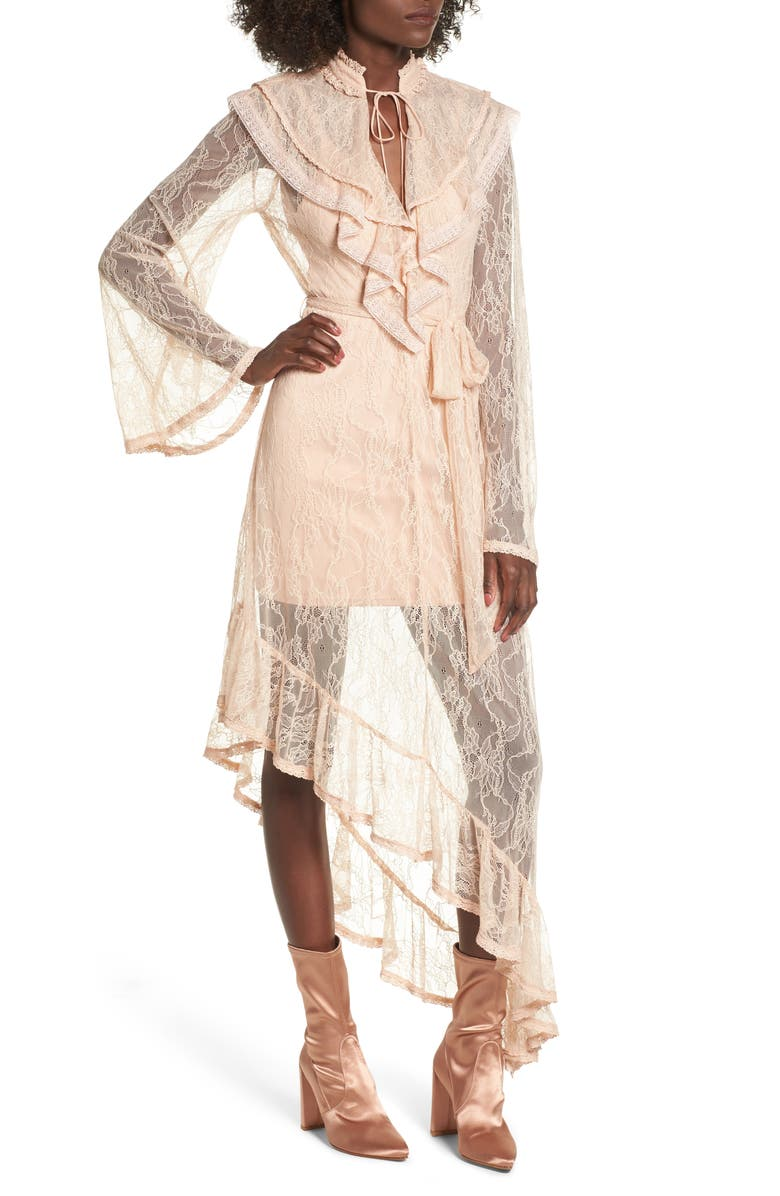 AFRM Ray Asymmetrical Lace Dress, Main, color, SHIFTING SAND