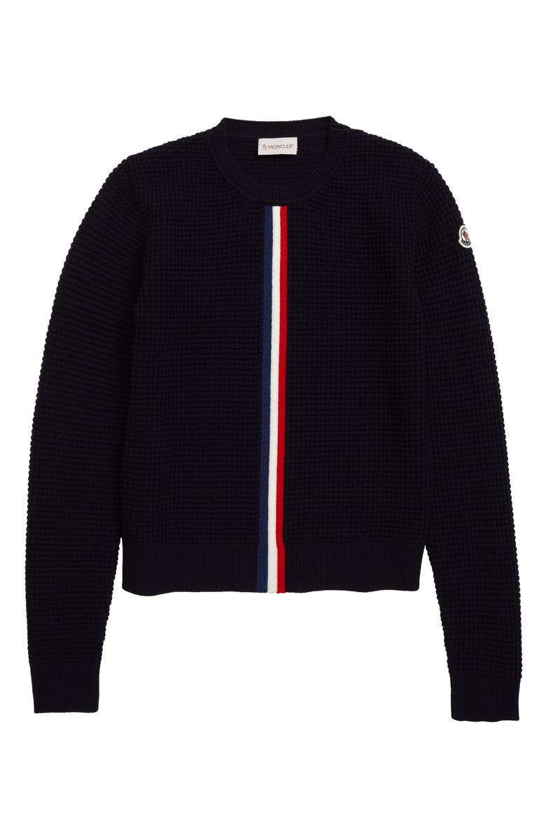 MONCLER Crewneck Waffle Stitch Wool Sweater, Main, color, NAVY