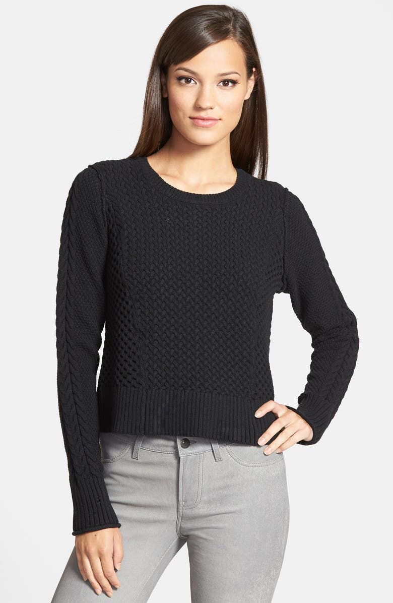 1.STATE Cable Knit Pullover Sweater, Main, color, 001