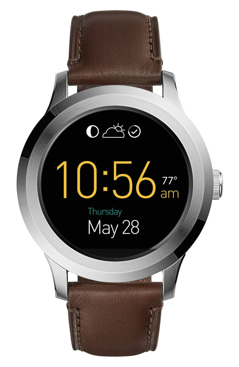 FOSSIL Q Founder Leather Strap Digital Smart Watch, 46mm, Main, color, DARK BROWN/ GREY