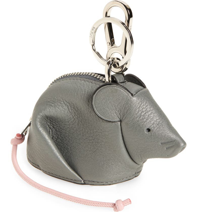LOEWE Mouse Calfskin Leather Bag Charm, Main, color, 020