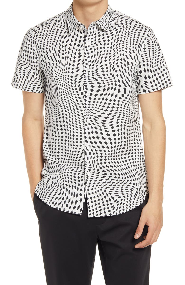 OPEN EDIT Short Sleeve Stretch Button-Up Shirt, Main, color, WHITE-BLACK FLOATING DIAMONDS