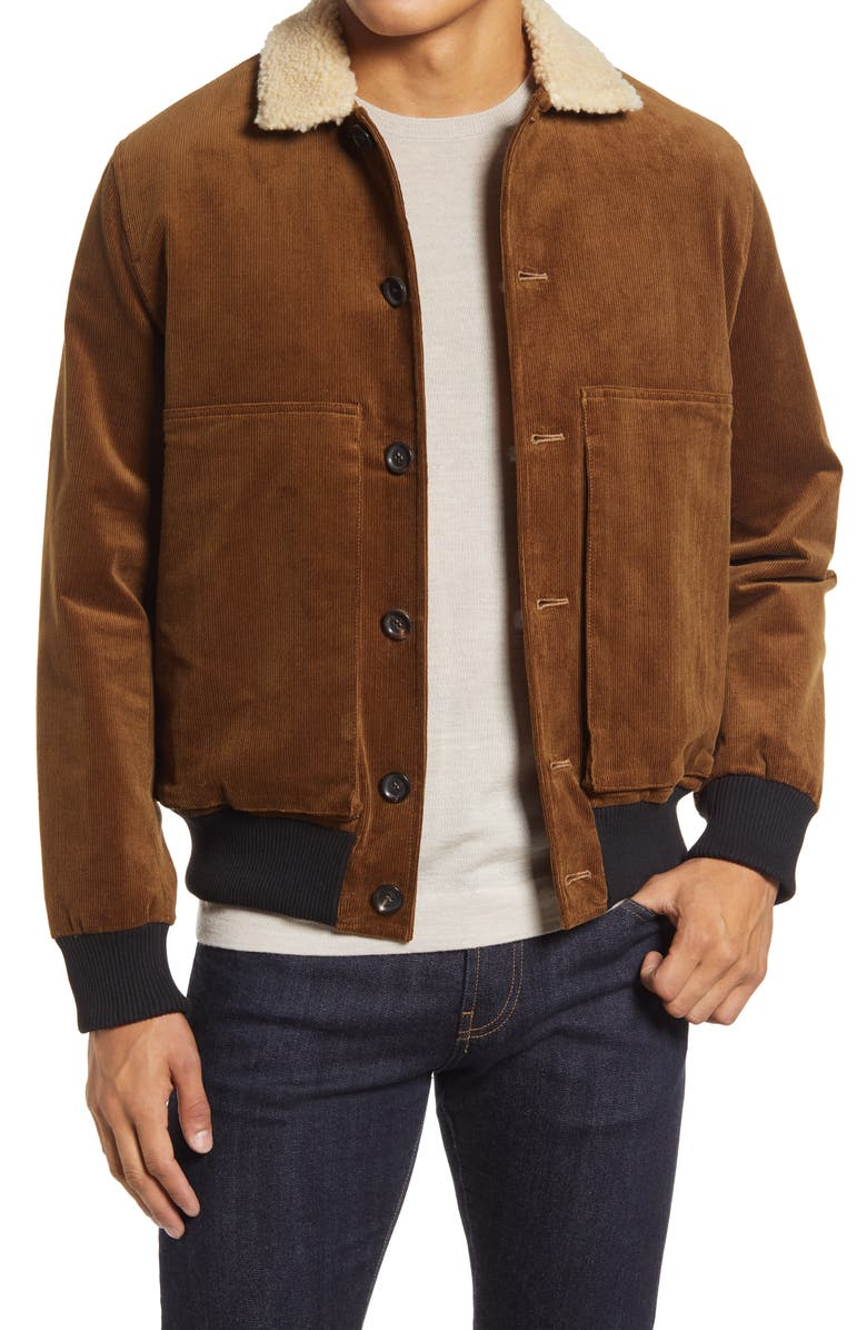 OLIVER SPENCER Linfield Stretch Corduroy Bomber Jacket with Faux Shearling Collar, Main, color, 204