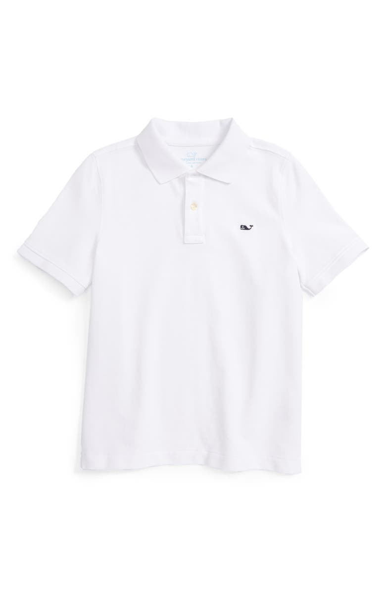VINEYARD VINES Piqué Cotton Polo, Main, color, WHITE CAP
