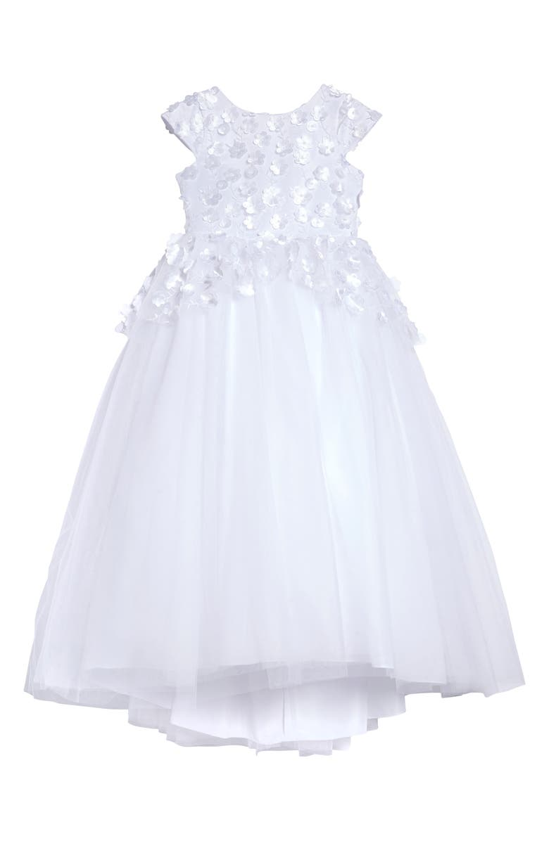 US ANGELS Floral Embellished High/Low Tulle First Communion Dress, Main, color, White