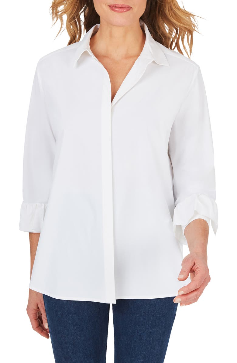 FOXCROFT Milan Stretch Button-Up Shirt, Main, color, White