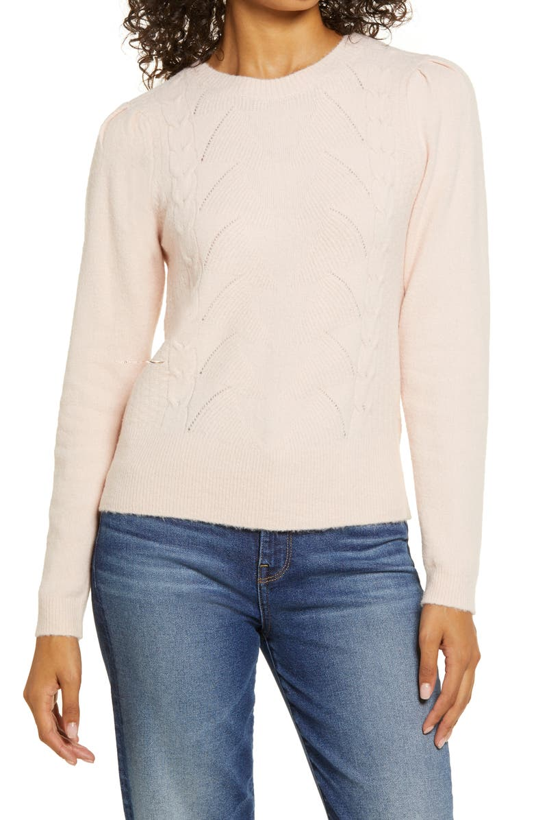 HALOGEN<SUP>®</SUP> Stitch Front Sweater, Main, color, PINK SMOKE