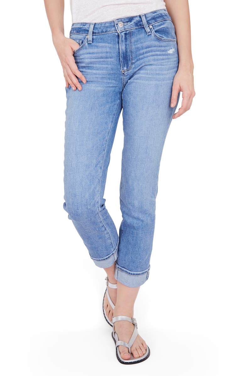 PAIGE Brigitte High Waist Slim Fit Boyfriend Jeans, Main, color, FOLK DISTRESSED