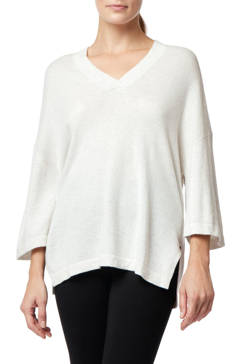 THE WHITE COMPANY Wool Blend V-Neck Tunic, Main, color, CLOUD MARL