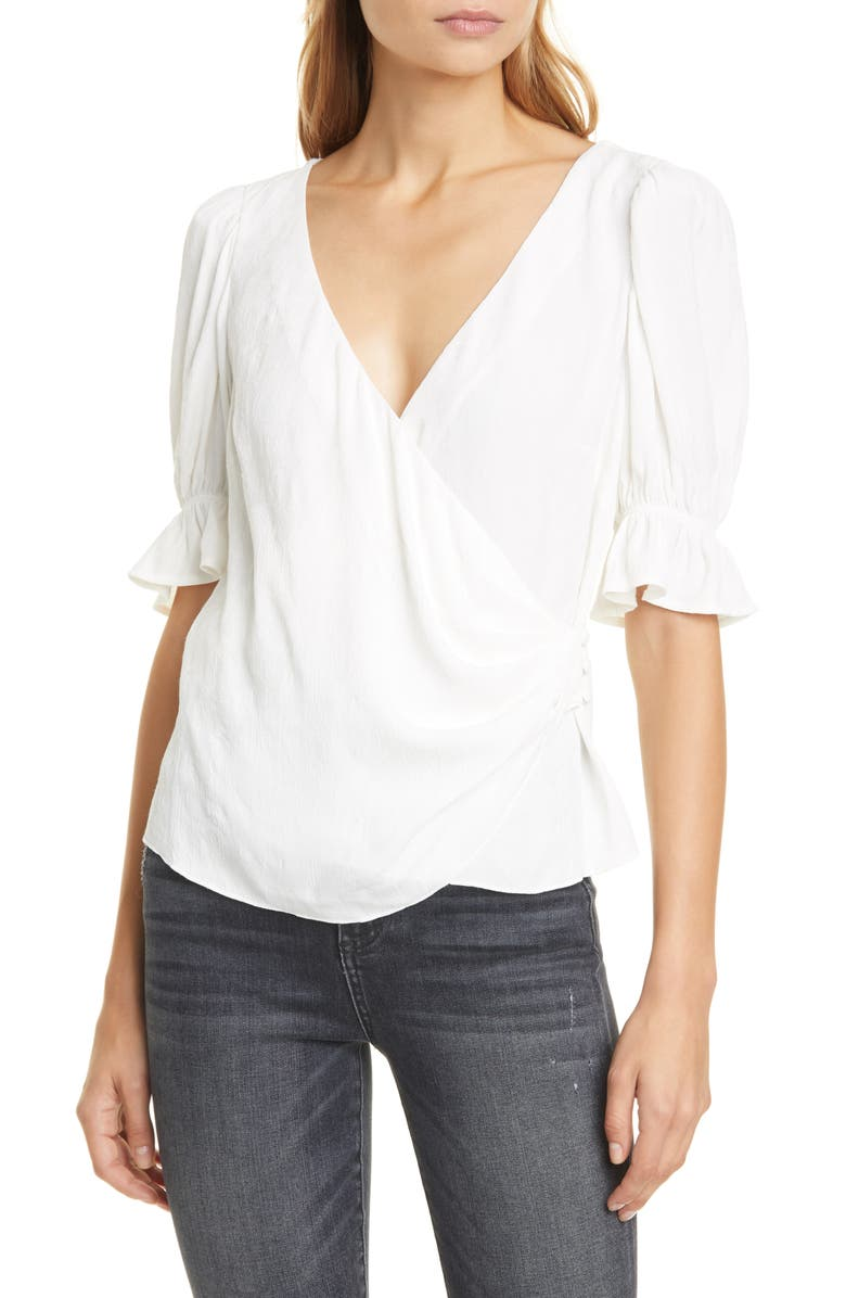 CINQ A SEPT Theo Ruffle Cuff Surplice Blouse, Main, color, IVORY