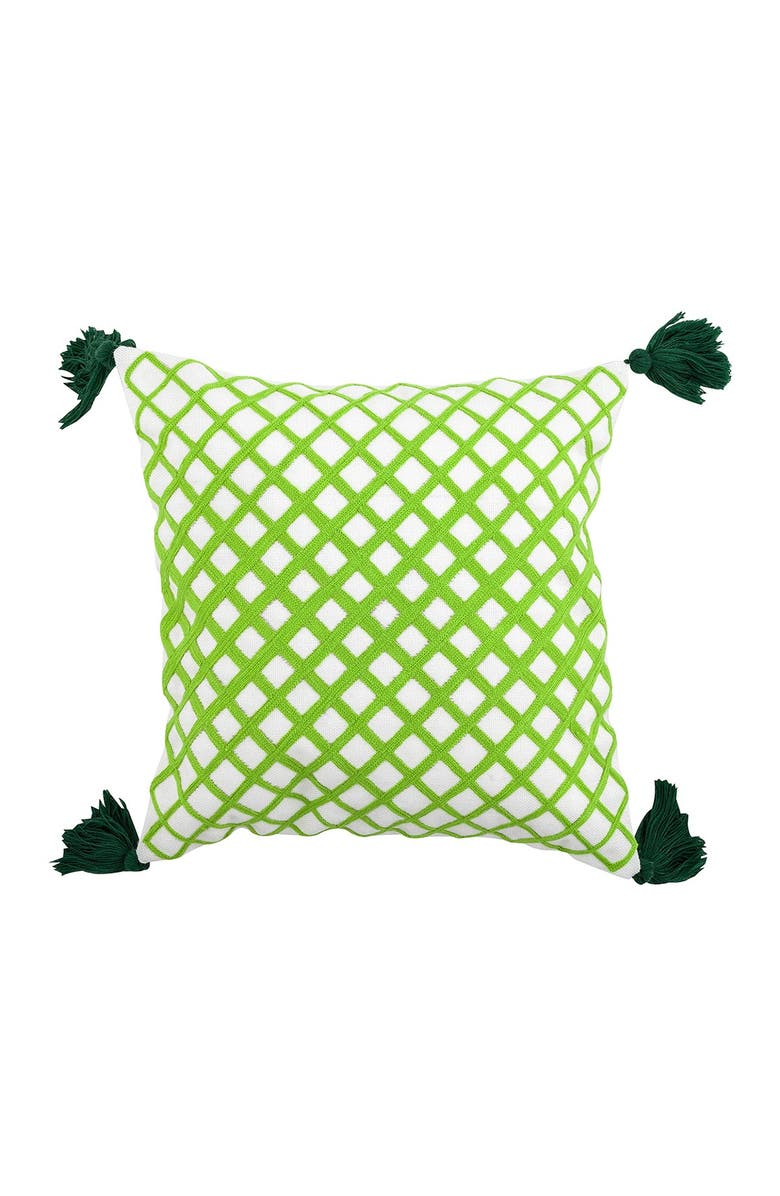 """DIVINE HOME Embroidered Angles Outdoor Pillow - 17"""" x 17"""" - Green, Main, color, GREEN"""