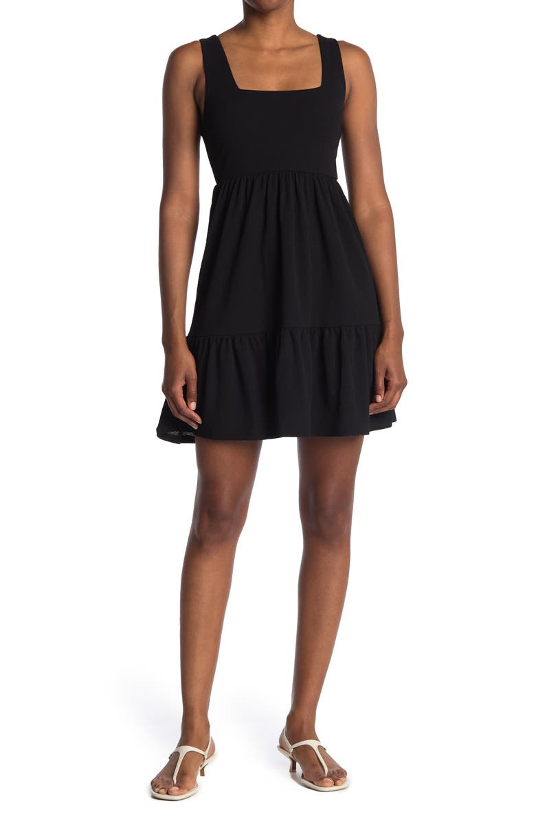 MAX AND ASH Tiered Dress, Main, color, BLACK