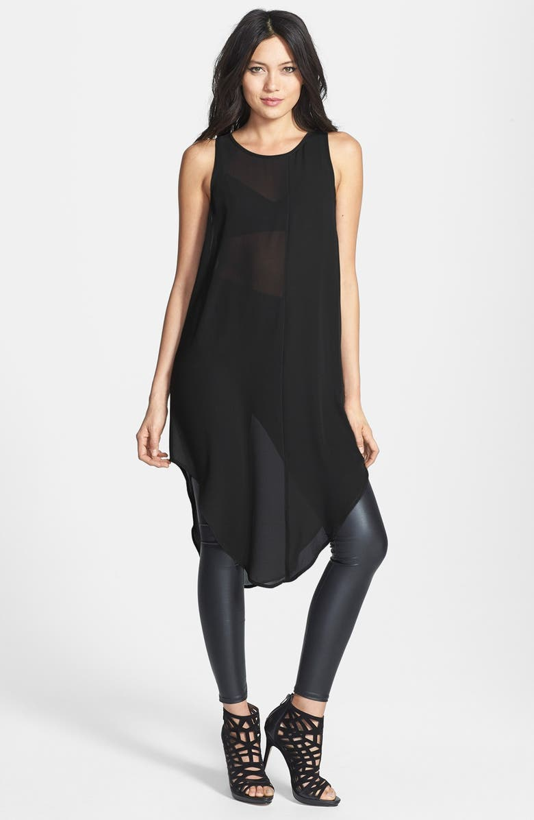 LEITH Mixed Crepe Tunic, Main, color, 001