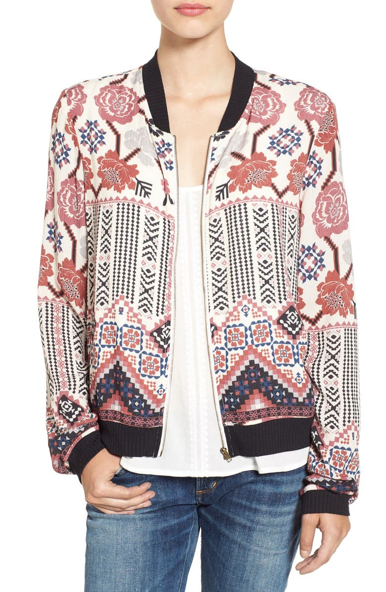 CHLOE & KATIE Print Bomber Jacket, Main, color, 900