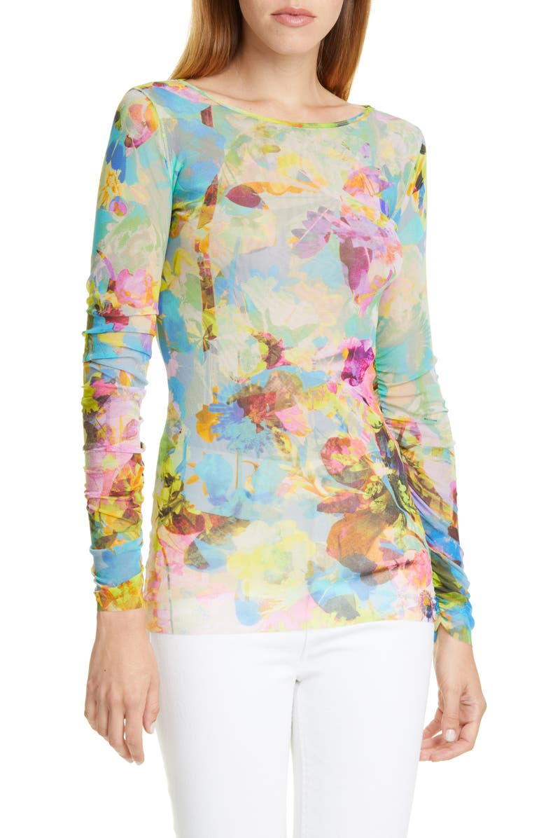 FUZZI Floral Long Sleeve Top, Main, color, 400