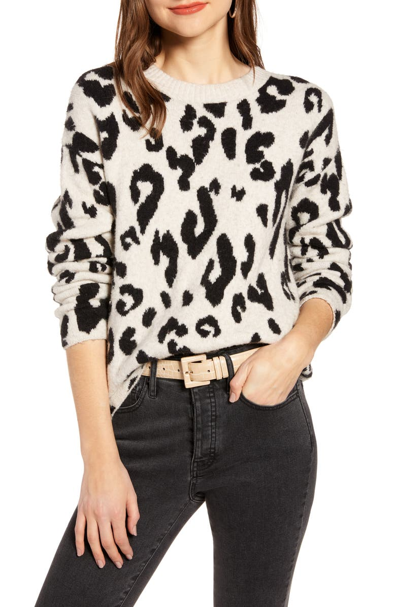 SOMETHING NAVY Leopard Crewneck Pullover, Main, color, 270
