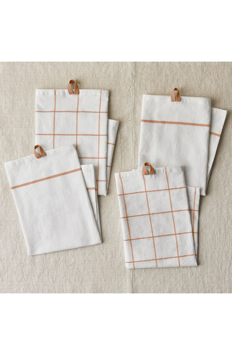 FIVE TWO BY FOOD52 FIVETWO Essential Set of 4 Flour Sack Kitchen Towels, Main, color, MAPLE