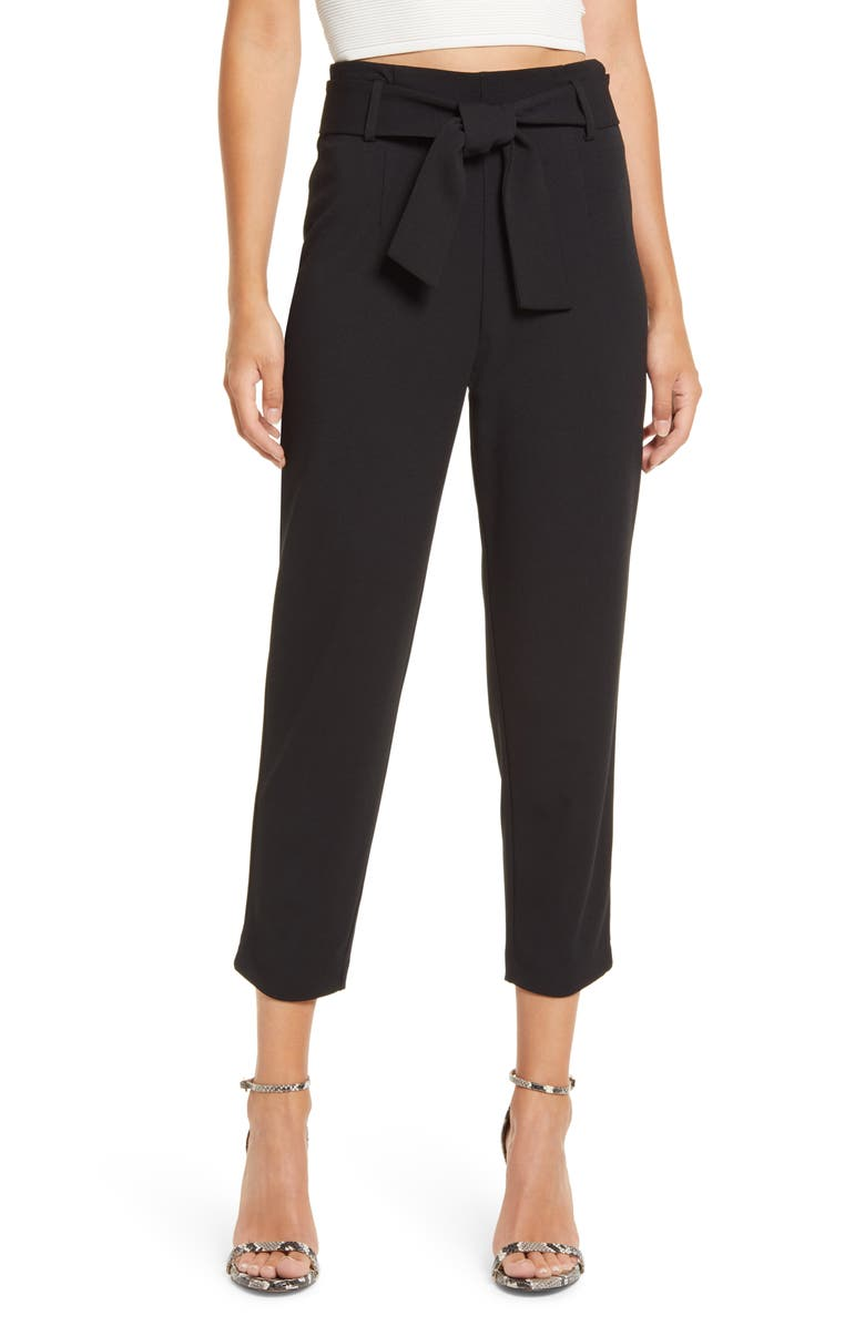 LEITH Belted Tapered Pants, Main, color, Black