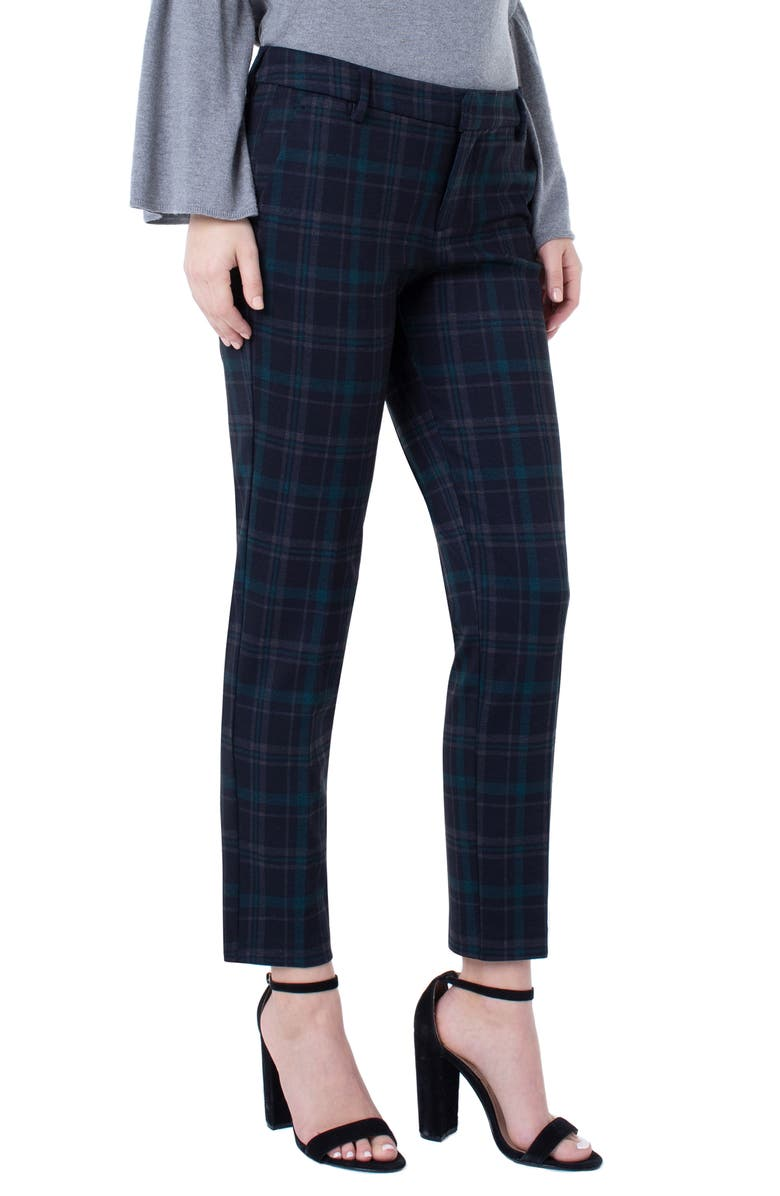 LIVERPOOL Kelsey Plaid Knit Trousers, Main, color, BLACK/ EVERGREEN