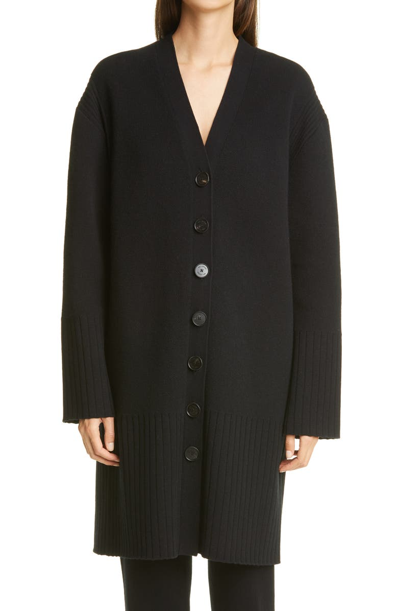 ST. JOHN COLLECTION Long Wool & Cashmere Cardigan, Main, color, BLACK