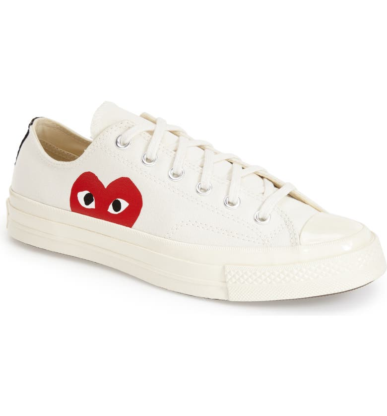 COMME DES GARÇONS PLAY x Converse Chuck Taylor<sup>®</sup> Low Top Sneaker, Main, color, WHITE