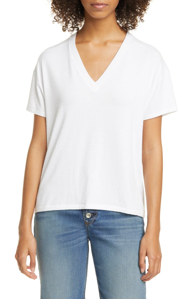 RAG & BONE Hudson V-Neck Top, Main, color, WHITE