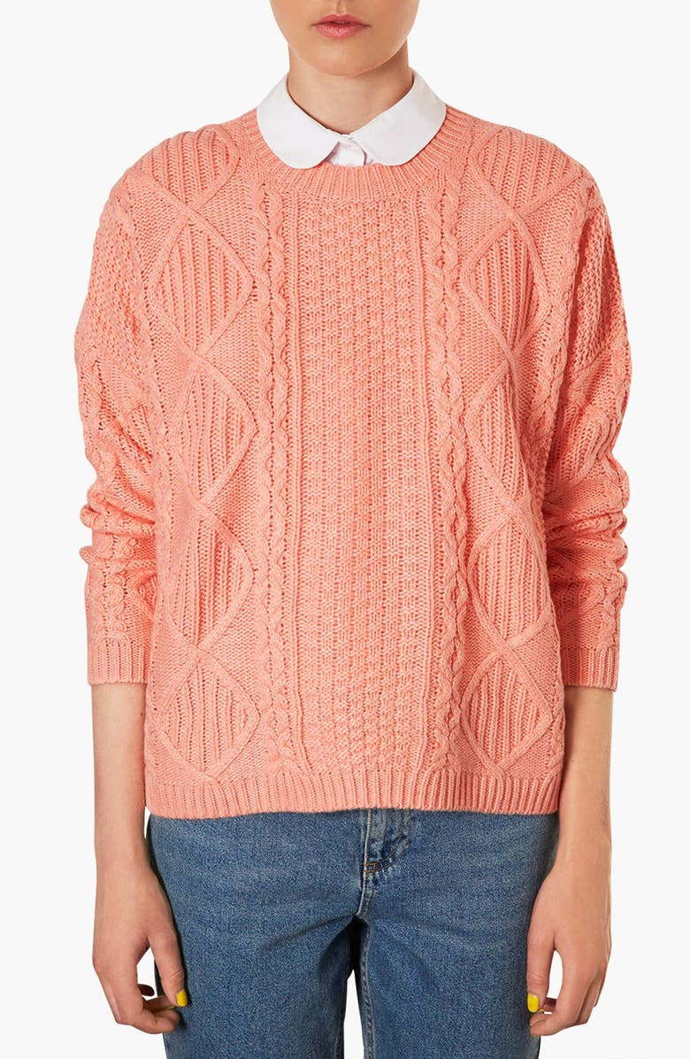 TOPSHOP Cable Knit Sweater, Main, color, PEACH