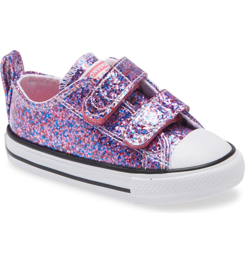 CONVERSE Chuck Taylor<sup>®</sup> All Star<sup>®</sup> 2V Glitter Low Top Sneaker, Main, color, BOLD PINK/ WHITE/ BLACK