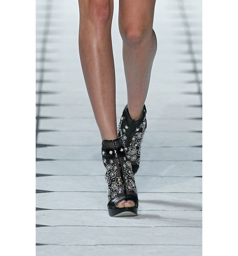 JASON WU COLLECTION Jason Wu Embroidered Mesh Bootie, Main, color, Black