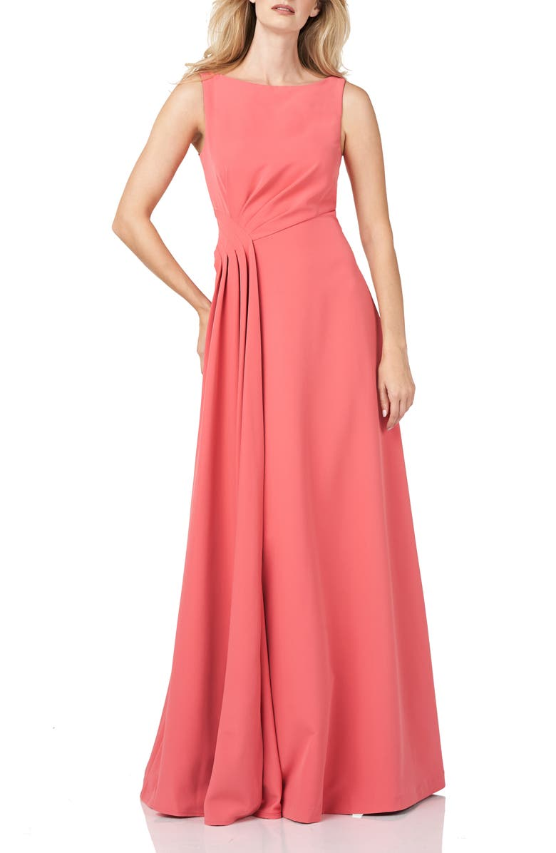 KAY UNGER Pleated Waist Crepe A-Line Gown, Main, color, PERSIMMON