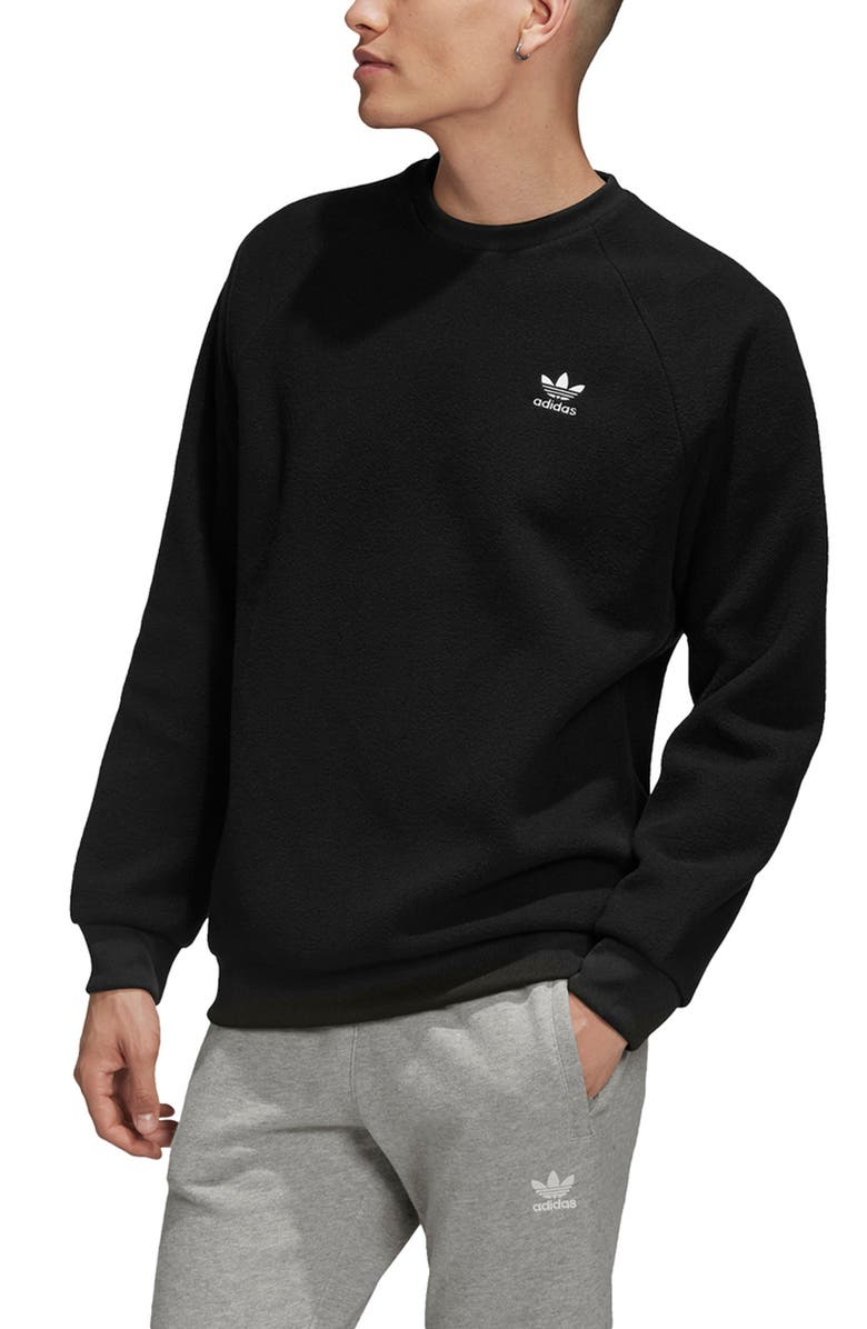 ADIDAS ORIGINALS Adicolor Fleece Crewneck Sweatshirt, Main, color, BLACK