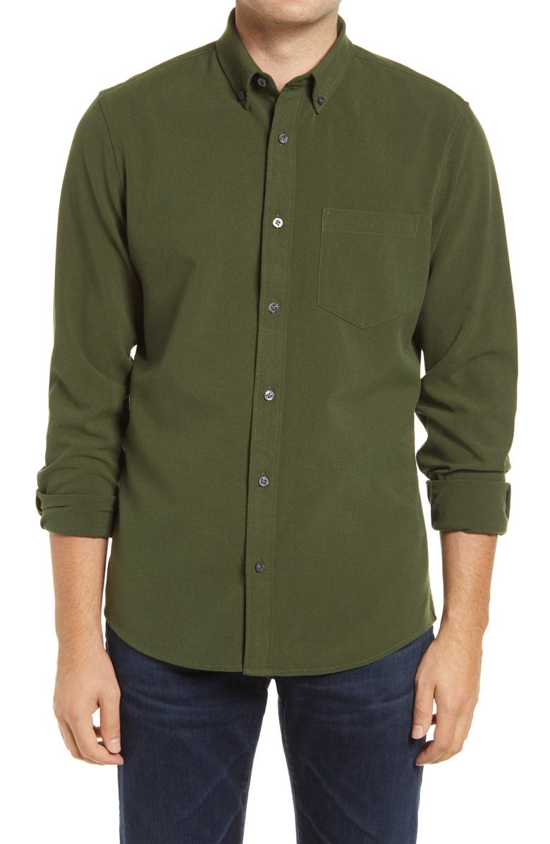 NORDSTROM Trim Fit Solid Flannel Button-Down Shirt, Main, color, GREEN ZEN TWILL
