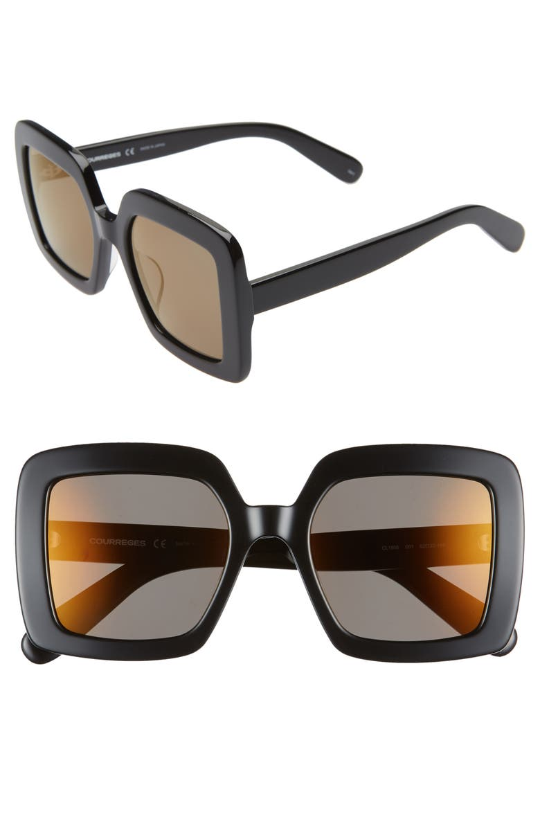COURREGES 52mm Square Sunglasses, Main, color, 001
