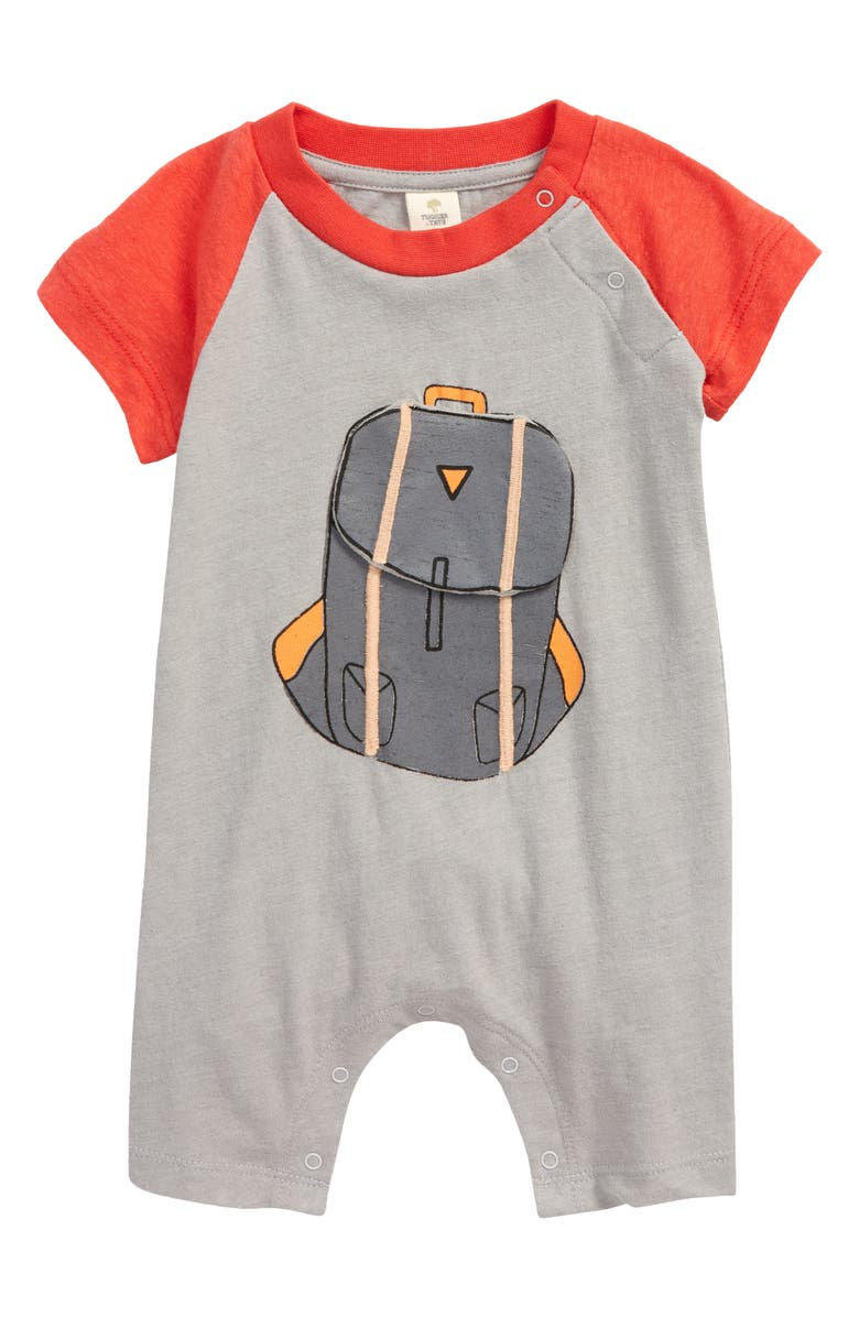 TUCKER + TATE Appliqué Romper, Main, color, GREY ALLOY HEATHER BACKPACK