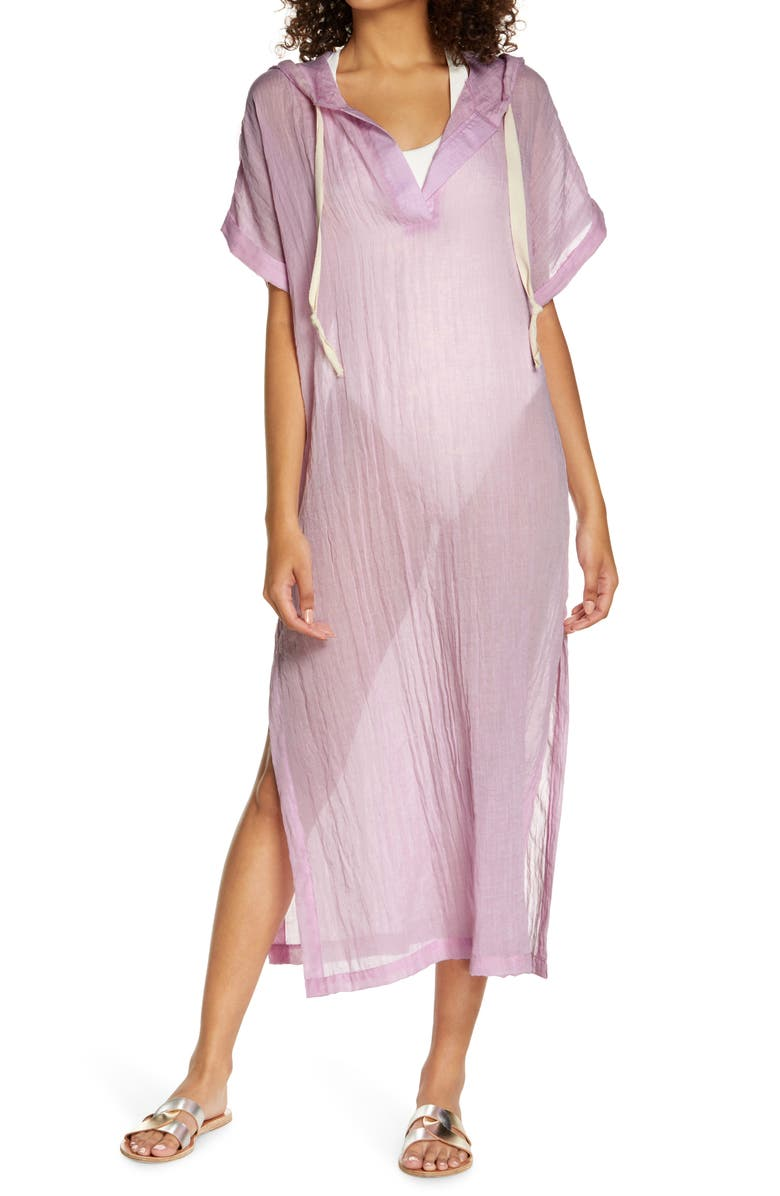 ELAN Hooded Cover-Up Caftan, Main, color, LILAC